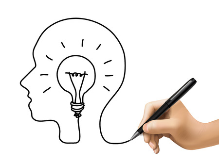 planing: creative concept with a bulb inside human brain drawn by 3d hand Illustration