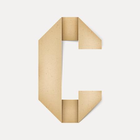 papier a lettre: 3d �l�gante lettre de papier pli� C isol� sur fond beige