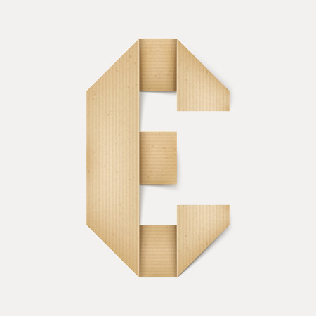 papier a lettre: 3d �l�gante lettre de papier pli� E isol� sur fond beige Illustration