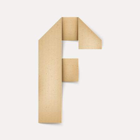 papier a lettre: 3d �l�gante lettre de papier pli� F isol� sur fond beige Illustration
