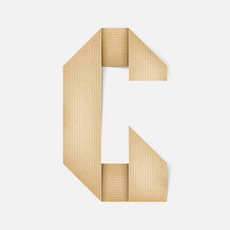remind: 3d elegant folded paper letter G isolated on beige background Illustration
