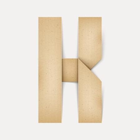 papier a lettre: 3d �l�gante lettre de papier pli� K isol� sur fond beige