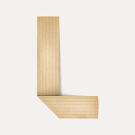 papier a lettre: 3d �l�gante lettre de papier pli� L isol� sur fond beige