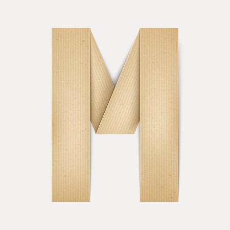 folded paper: 3d elegant folded paper letter M isolated on beige background