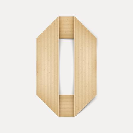 papier a lettre: 3d �l�gante lettre de papier pli� O isol� sur fond beige Illustration