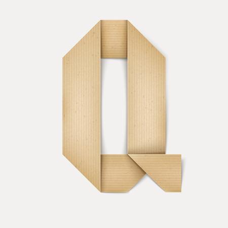 papier a lettre: 3d �l�gante lettre de papier pli� Q isol� sur fond beige Illustration