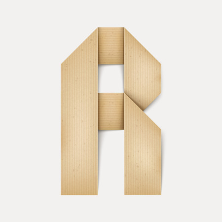 folded paper: 3d elegant folded paper letter R isolated on beige background Illustration