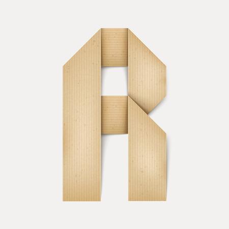 papier a lettre: 3d �l�gante lettre de papier pli� R isol� sur fond beige Illustration