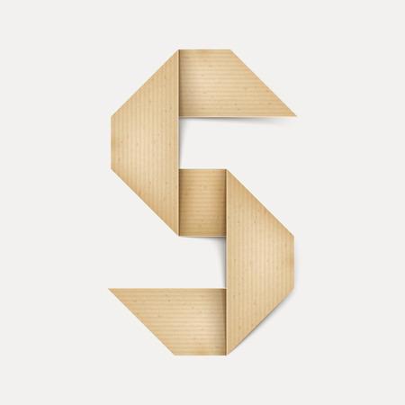 papier a lettre: 3d �l�gante lettre de papier pli� S isol� sur fond beige