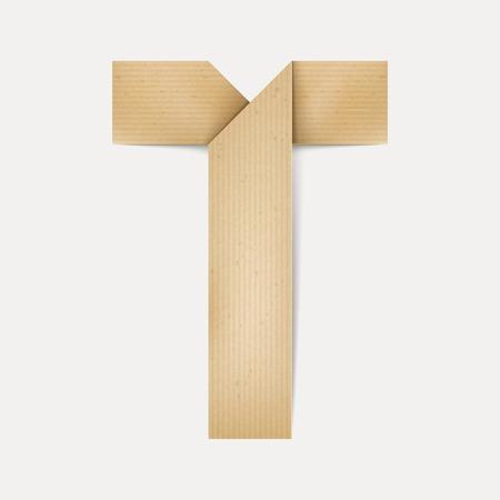 papier a lettre: 3d �l�gante lettre de papier pli� T isol� sur fond beige Illustration
