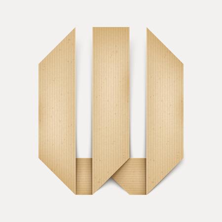 papier a lettre: 3d �l�gante lettre de papier pli� W isol� sur fond beige