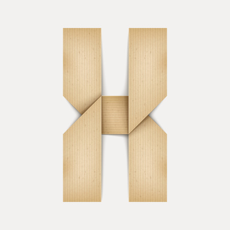 papier a lettre: 3d �l�gante lettre de papier pli� X isol� sur fond beige Illustration