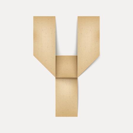 papier a lettre: 3d �l�gante lettre de papier pli� Y isol� sur fond beige
