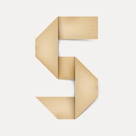 number 5: 3d elegant folded paper number 5 isolated on beige background