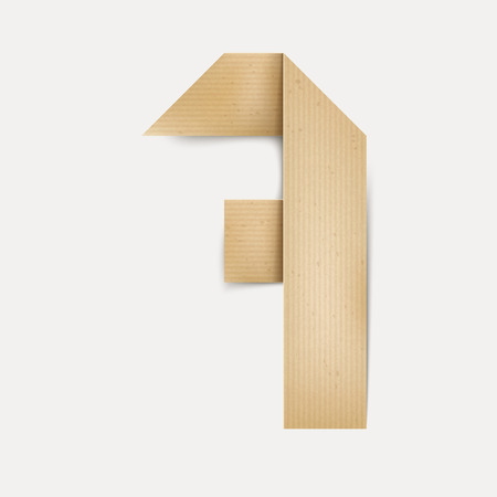 number 7: 3d elegant folded paper number 7 isolated on beige background