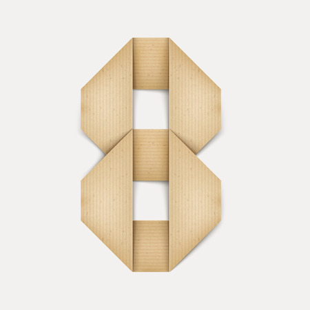 number 8: 3d elegant folded paper number 8 isolated on beige background Illustration