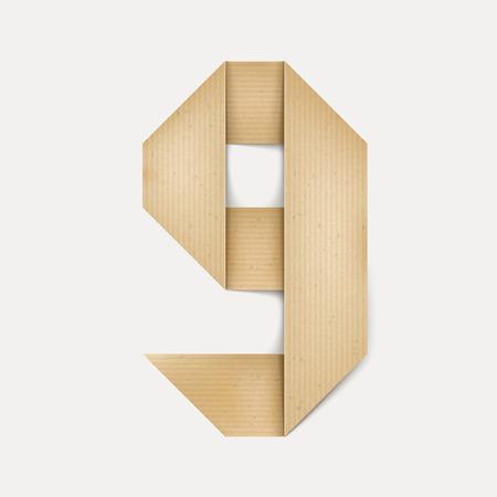 folded paper: 3d elegant folded paper number 9 isolated on beige background Illustration