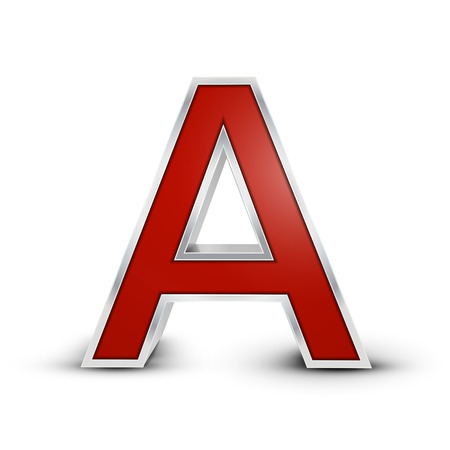metal letter: 3d red metallic letter A isolated on white background