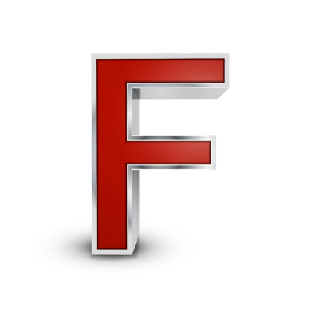 letter f: 3d red metallic letter F isolated on white background Illustration