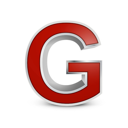3d red metallic letter G isolated on white background