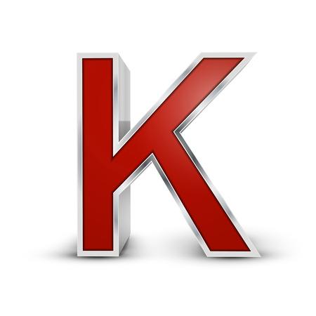 buchstabe k: 3d red metallic Buchstaben K auf wei�em Hintergrund