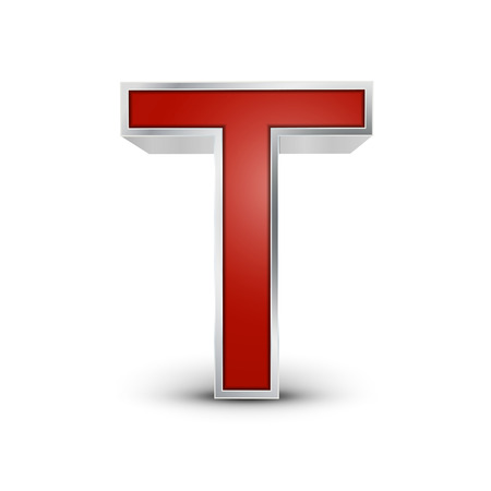 t background: 3d red metallic letter T isolated on white background