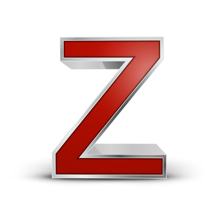 3d red metallic letter Z isolated on white background Vector