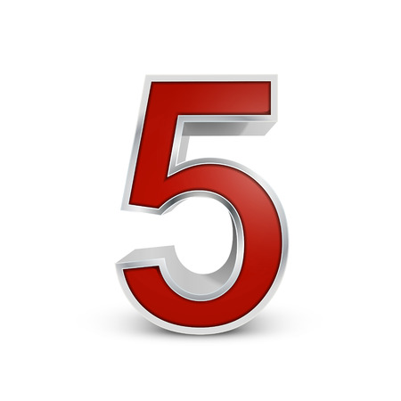 number 5: 3d red metallic number 5 isolated on white background