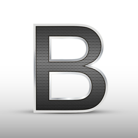 speaker grille: 3d speaker grille letter B isolated on grey background Illustration