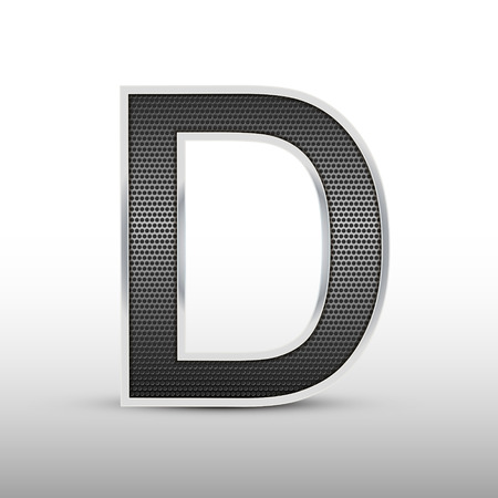 speaker grille: 3d speaker grille letter D isolated on grey background Illustration