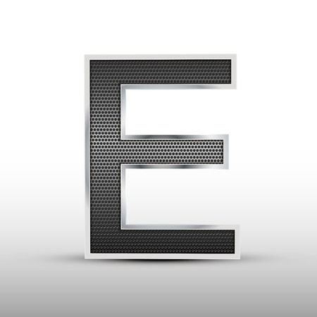 speaker grille: 3d speaker grille letter E isolated on grey background