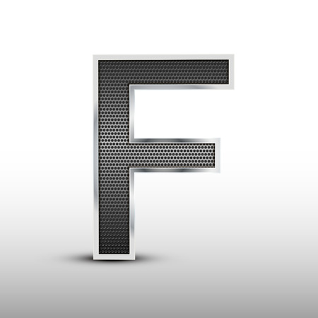 letter f: 3d speaker grille letter F isolated on grey background Illustration