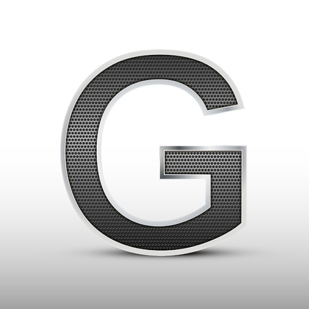 speaker grille: 3d speaker grille letter G isolated on grey background Illustration