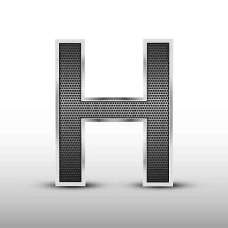 speaker grille: 3d speaker grille letter H isolated on grey background Illustration