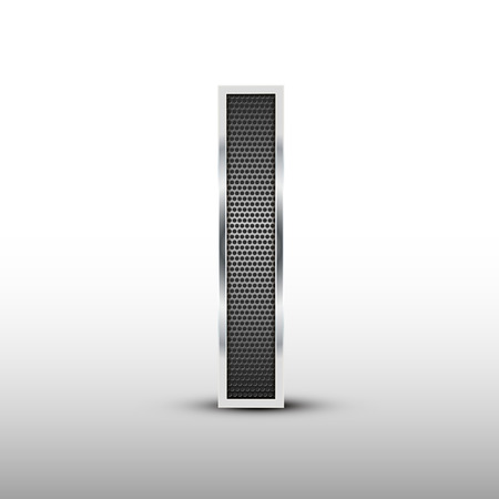 speaker grille: 3d speaker grille letter I isolated on grey background Illustration