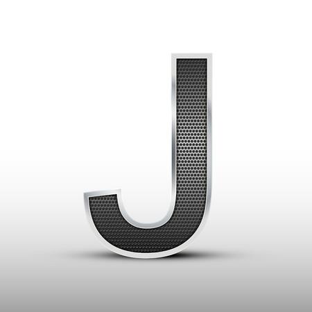 speaker grille: 3d speaker grille letter J isolated on grey background Illustration
