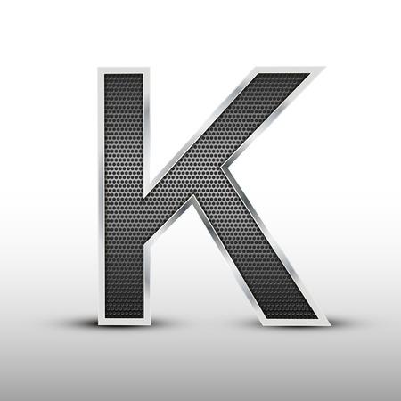 buchstabe k: 3D-Lautsprechergitter Buchstaben K auf grauem Hintergrund isoliert