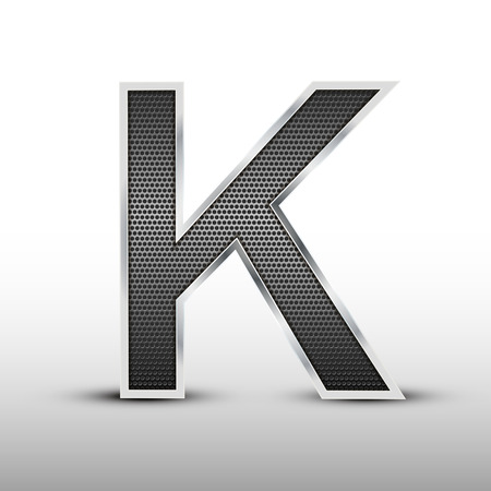 speaker grille: 3d speaker grille letter K isolated on grey background