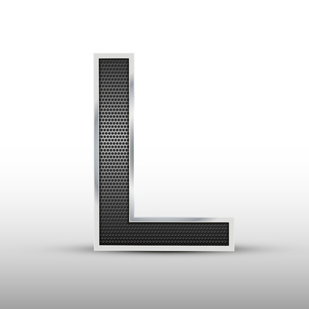 speaker grille: 3d speaker grille letter L isolated on grey background