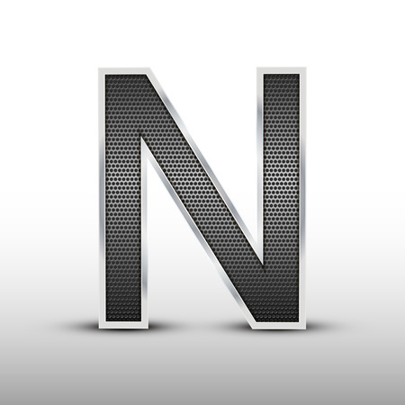 speaker grille: 3d speaker grille letter N isolated on grey background Illustration