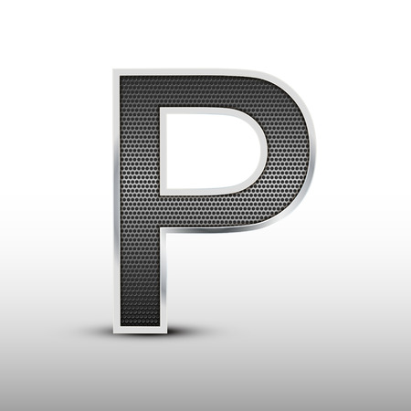 speaker grille: 3d speaker grille letter P isolated on grey background Illustration