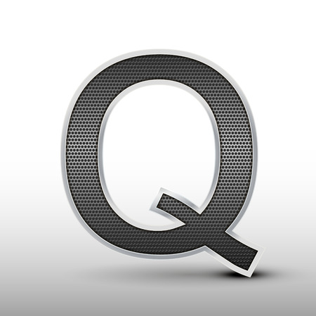 speaker grille: 3d speaker grille letter Q isolated on grey background Illustration