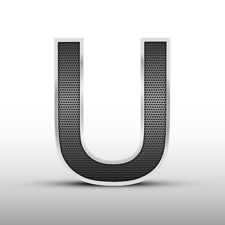 speaker grille: 3d speaker grille letter U isolated on grey background Illustration