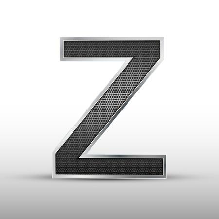 buchstabe z: 3D-Lautsprechergitter Buchstaben Z auf grauem Hintergrund isoliert Illustration