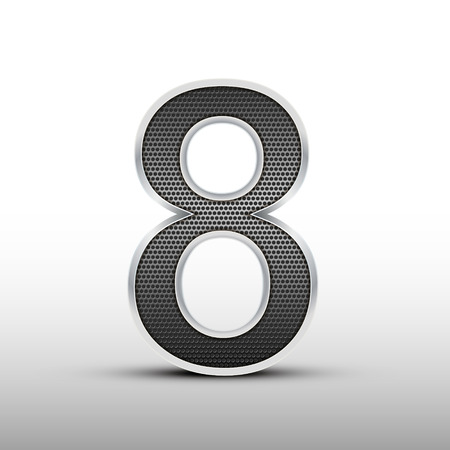 number 8: 3d speaker grille number 8 isolated on grey background Illustration