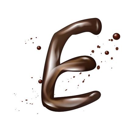 e liquid: 3d liquid chocolate letter E isolated on white background