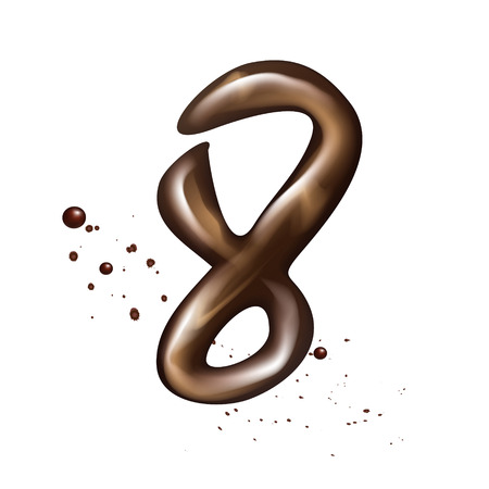 number 8: 3d liquid chocolate number 8 isolated on white background