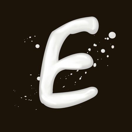 milk drop: 3d milk letter E isolated on black background
