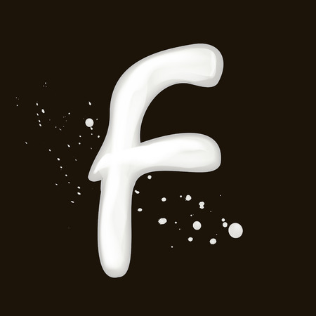 letter f: 3d milk letter F isolated on black background