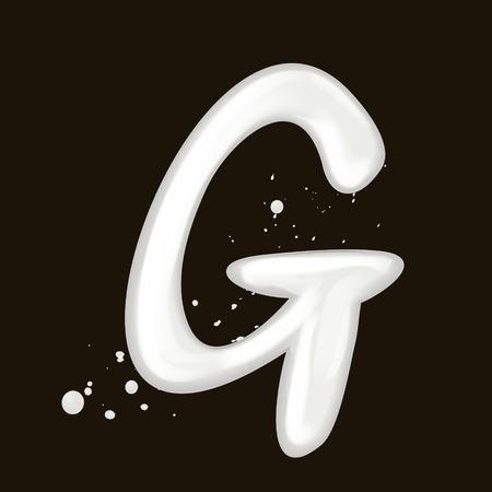 3d 우유 편지 G는 검은 배경에 고립 된 일러스트